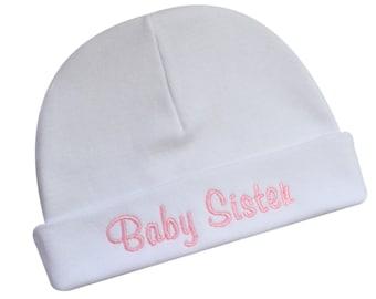 Baby Sister Hat Keepsake Embroidered Little Sister Infant Hat for Baby Girls