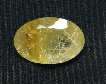 100% Natural Golden Rutilated Quartz Gemstones Faceted oval with gold needles Size 22x14.50x9mm