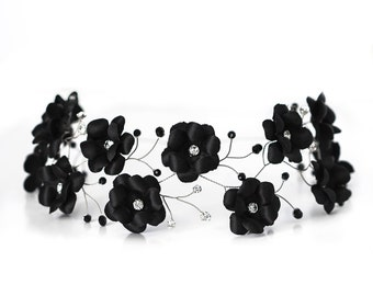 54 Black flower crown, Flower hair accessories, Hair flowers, Flower headband, Flower headpiece, Flower hair band, Floral hair piece, Tiara.