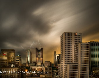 Downtown Columbus Ohio Lightning Storm Long Exposure Color