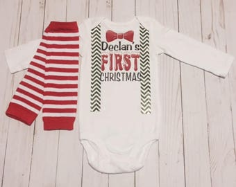 my first christmas onesie baby suspender with leggings bow snowy long sleeve