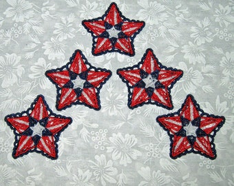 Five Small Patriotic Stars, Machine embroidered lace, red, white and blue, 2 inches