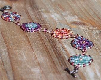 Pastel Pinwheel Beaded Bracelet
