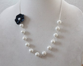 White Pearl and Navy Blue Flower Necklace