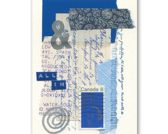ALL INCLUSIVE mixed-media collage, paper art, original, abstract