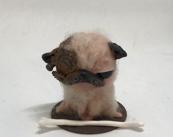 Pete the steampunk pug Original one of a kind art doll