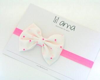 Polka Dot Baby Headband - Baby Girl Headband - Newborn Headband - Cotton Baby Headband - Infant Headband - Pink Baby Bow - Baby Hair Bow