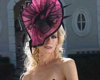 2018 collection. Kentucky Derby Hat. Pink hat. Fascinator. Derby Hat. Designer ht. Royal Ascot hat. Del Mar races. Couture hat
