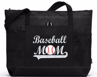 "Large 20"" Baseball MOM Sports Bag with Glitter or solid color Lettering. Ships FREE and FAST!"