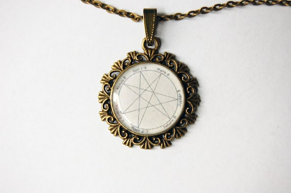 Heptagram cameo heptagram pendant heptagram necklace aloadofball