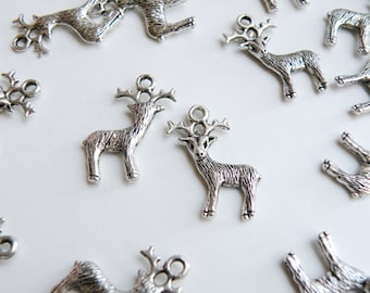 10 Rudolph reindeer Buck Stag Deer charms with antlers antique silver 24x20mm DB15385