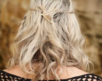 Triangle Hair Clip, Gold Hair Clip, Boho Accessory, Boho Hair Accessory, Triangle Hair Pin, Boho Barrette, Bohemian Hair Clip, Goddess Hair