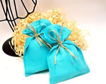 Natural Linen blue turquoise favor bags Wedding favor bags Linen gift bags Baby shower bags Blue linen bags Small linen bags Party supplies