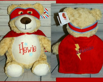 Personalised Cubby Teddy Bear, embroidered new babygift, Christening, birthdays
