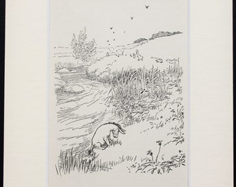 Mounted Winnie The Pooh, Eeyore by the River. Matted Vintage 1930s Black and White Print