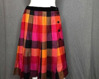 ESCADA Plaid Pleated Skirt Size: 10