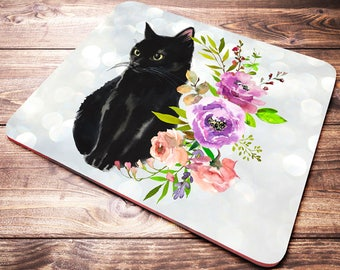 Cat Lover Gift, Cat Mouse Pad, Black Cat Lover Gifts, Desk Accessories, Cute Mouse Pad, Floral Cat, Coworker Gift, Cat Lady Gifts