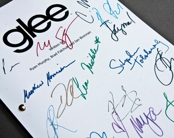 Glee TV Script with Signatures / Autographs Reprint Unique Gift Christmas Xmas Present Film Movie Fan Geek Gleek Musical Cory Monteith
