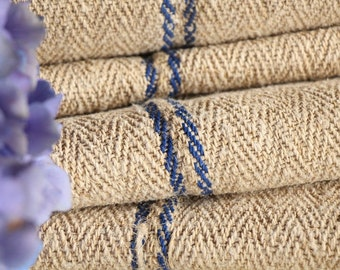 R 308 antique hemp BRIGHT BLUE upholstery 4.372 yards handloomed STAIRUNNER benchcushion Beachhouse look