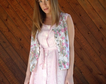 Floral Faded Button Down Vest Sleeveless - Vintage 90s - MEDIUM