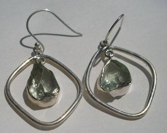 Prasiolite earrings, green amethyst nugget, raw crystal
