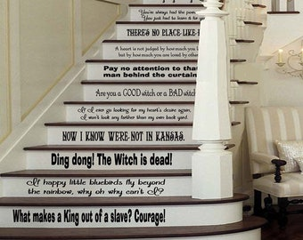 Wizard of Oz Inspired 12 Quote Set Large Wall or Stairs Decal for Stair Risers Dorthy Wicked Witch West Library Classroom Girls Party