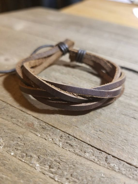 Brown Leather Weaved Adjustable Bracelet Native American Style Fashion Cuff  (B8)