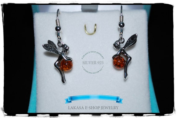 Fairy earrings amber sterling silver jewelry lakasaeshop moda fantasy dream best gifts ideas for her birthday christmas woman best price