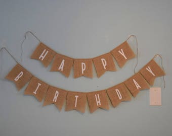 "Burlap ""Happy Birthday"" pennant banner.First birthday banner.Happy Birthday Banner.Shabby chic pennant banner.Burlap birthday banner."