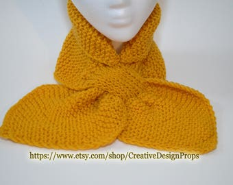 Knit Mustard Ascot Scarf - Pull Through Keyhole Stay Put Popular Ascot Short Scarf Top Trend Christmas Gift Winter wear Men Women