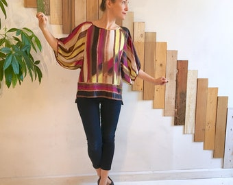 HARRIETTE Gathered Batwing Dolman Sleeve Abstract Stripe Art Gallery Blouse