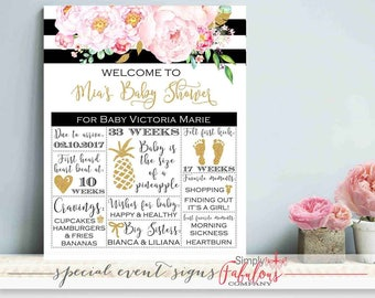Pregnancy Stat Board, Pregnancy Board, Black, White Striped, Watercolor Floral Baby Shower Welcome Sign, Baby Shower Sign DIGITAL FILE
