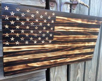 Small Handmade Burned Wood American Flag