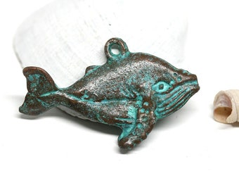 Large Whale pendant bead Green patina Copper metal whale charm Double sided Greek casting beads - 1Pc - F432
