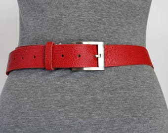 Red belt; women belt. women leather belt. belt red leather (ET.22)
