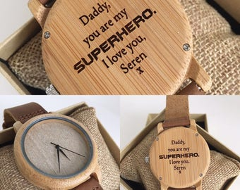 Father's Day personalised wooden watch engraved - gift for him - mens watch - Daddy