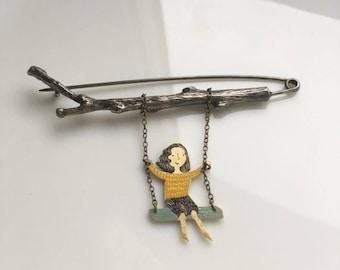 """Brass brooch """" Summer swings """""""