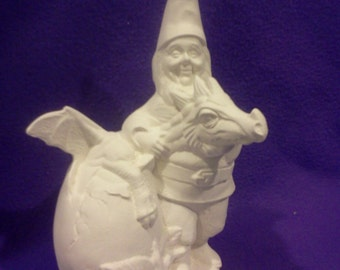 Ceramic Gnome with Dragon Hatchling ready to paint