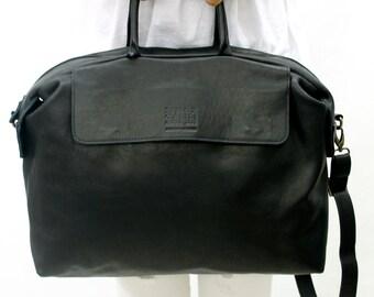 SALE!! Black Leather tote bag Black leather crossbody leather tote bag lightweight leather bag in Handmade
