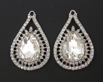 Clear Rhinestone Teardrop Bridal Earring Finding Wedding Jewelry Large Chandelier Crystal Wedding Jewelry Supply |S4-13|2