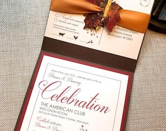 Fall Wedding Invitation, B-Leaf in Love Wedding Invitation, Autumn Wedding Invitation, Rustic Wedding Invite, Painted Maple Leaf Invitation