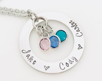 Mother's Name Necklace - Mother's Washer Necklace - Mother's Birthstone Necklace - Mother's Tag Necklace - Mother's Day Gift