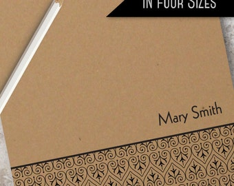 Custom Kraft Ornament Paper Note Pad | Monogrammed Personalized Notepad Available in 4 sizes