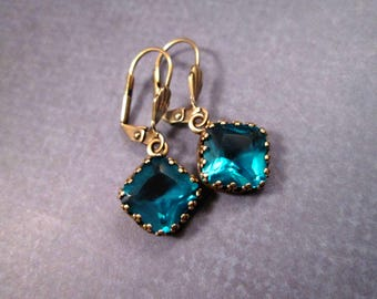 Glass Stone Earrings, Teal Blue Gems and Brass Dangle Earrings, FREE Shipping U.S.