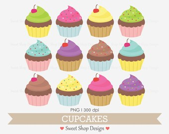 Cupcake Clip Art, Food Clip Art, Birthday Clip Art, Digital Clip Art, Cupcakes, BRIGHT, Instant Download