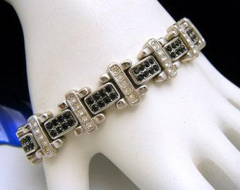 For Repair Vintage Black Clear Rhinestone Bracelet Silver Tone Missing 1 Clear Stone