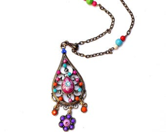 Painted Colorful Boho Flower Necklace Beaded Chain Bohemian Jewelry FREE SHIPPING