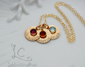 Hand Stamped Jewelry, Personalized Mommy Necklace, Gold Filled Names Necklace, Birthstone Necklace, Names Hand Stamped, Personalized Gifts