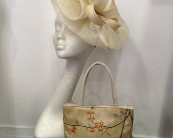 Ivory fascinator and matching bag, sisal and embroidered silk, wedding or ceremony