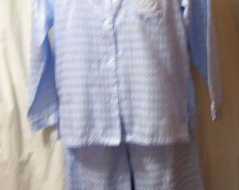Blue Pajamas, Embossed Satin, Size M Medium, Lounging, Sleepwear, Bay Studio